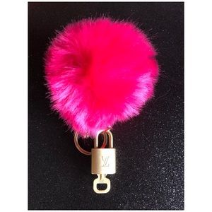 Authentic LV lock and Key Set on  Pom Pom Keychain